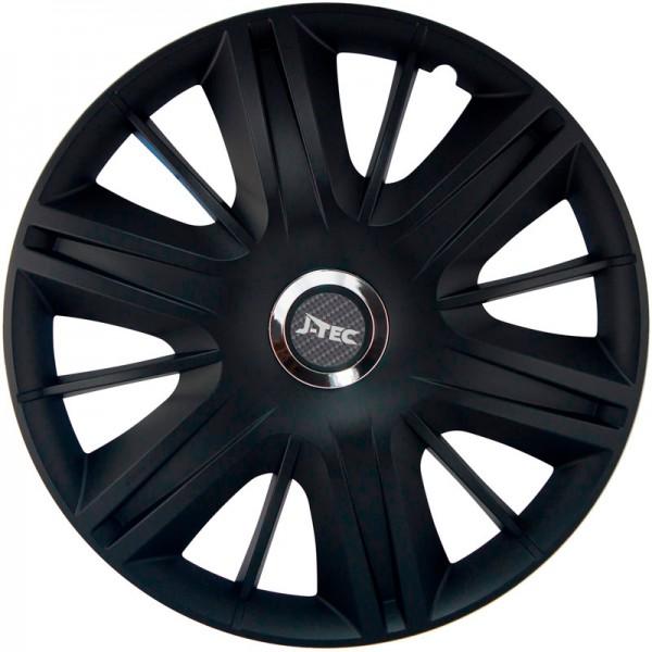 J-Tec 4-Delige Wieldoppenset Maximus 14-inch zwart + chroom ring