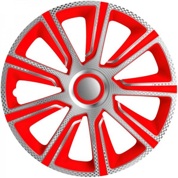 J-Tec 4-Delige Wieldoppenset Veron 13-inch zilver/rood/carbon-look