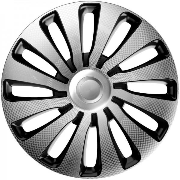 J-Tec 4-Delige Wieldoppenset Sepang 17-inch zilver/zwart/carbon-look