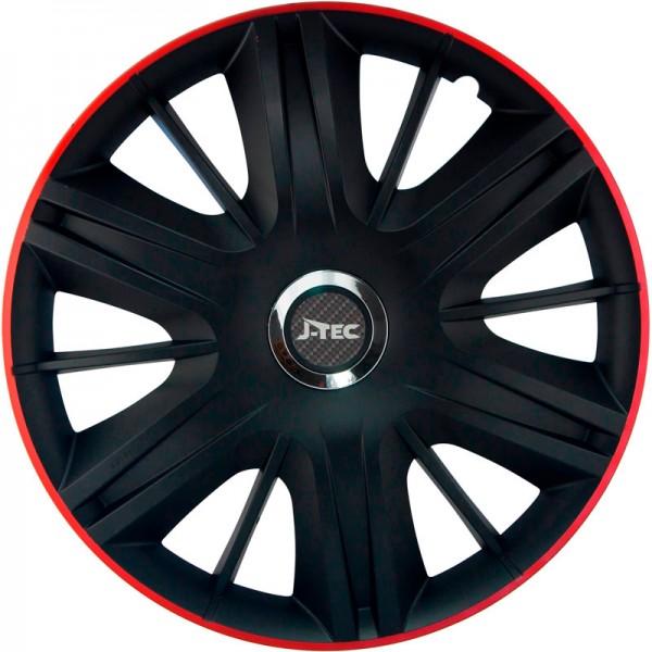 J-Tec 4-Delige Wieldoppenset Maximus GTR 13-inch zwart/rood + chroom ring