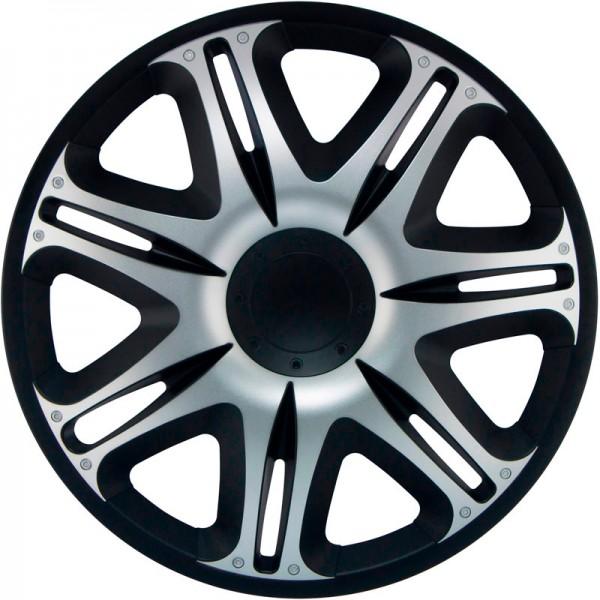 J-Tec 4-Delige Wieldoppenset Nascar 14-inch zilver/zwart