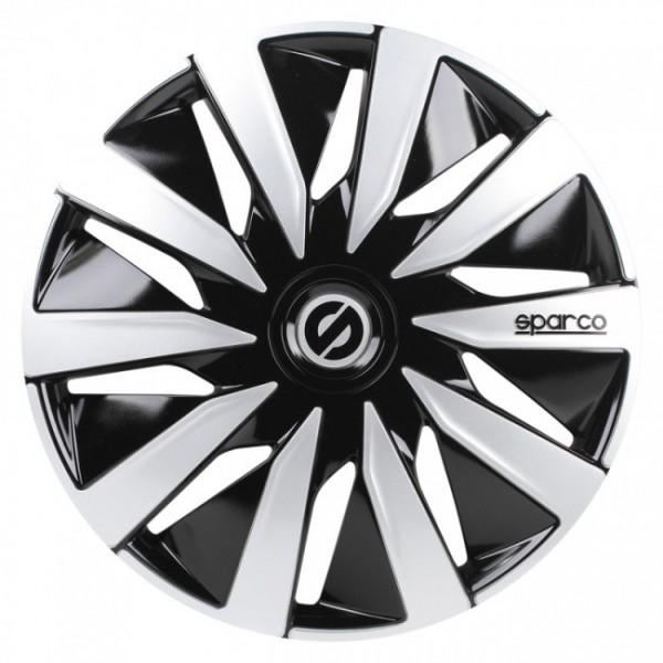4-Delige Sparco Wieldoppenset Lazio 14-inch zwart/zilver
