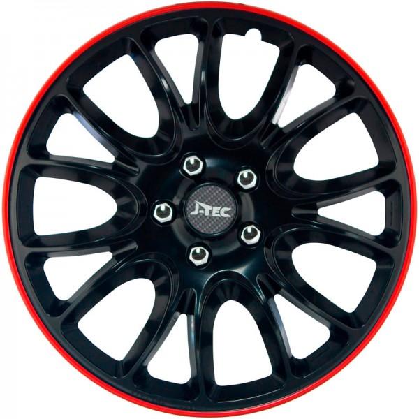 J-Tec 4-Delige Wieldoppenset Hero GTR 14-inch zwart/rode rand