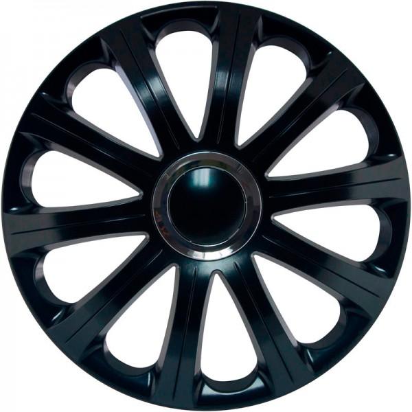 J-Tec 4-Delige Wieldoppenset Modena 15-inch zwart + chroom ring