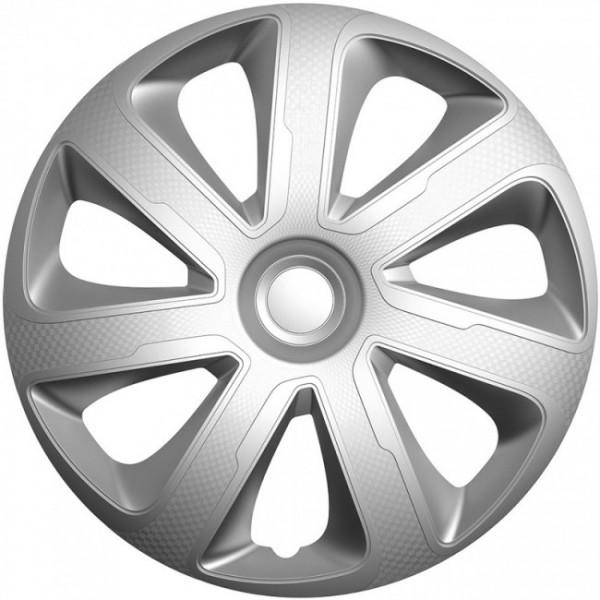 4-Delige Wieldoppenset Livorno 14-inch zilver carbon-look