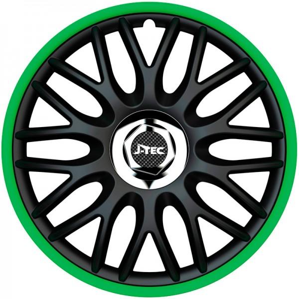 J-Tec 4-Delige Wieldoppenset Orden R 13-inch zwart/groen + chroom ring