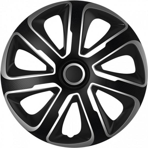 4-Delige Wieldoppenset Livorno 13-inch zilver/zwart carbon-look