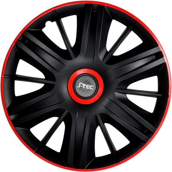 J-Tec 4-Delige Wieldoppenset Maximus 14-inch zwart/rood