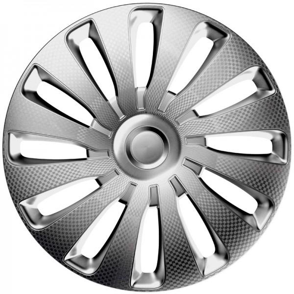 J-Tec 4-Delige Wieldoppenset Sepang 13-inch zilver/carbon-look