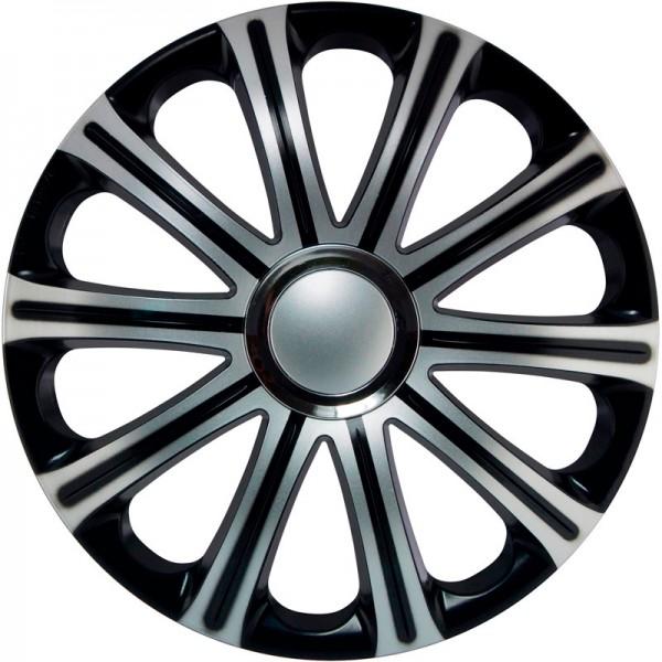 J-Tec 4-Delige Wieldoppenset Modena 13-inch zilver/zwart + chroom ring