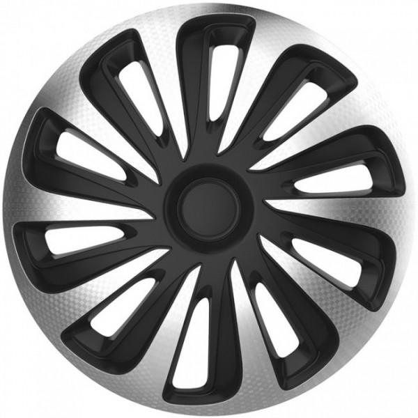 4-Delige Wieldoppenset Caliber 13-inch zilver/zwart carbon-look
