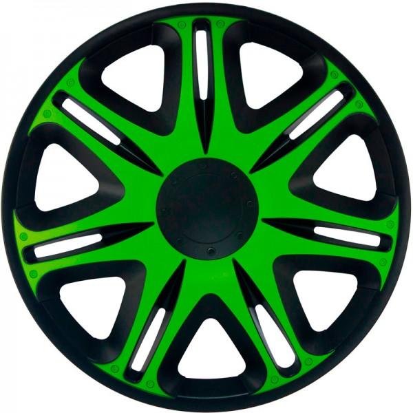 J-Tec 4-Delige Wieldoppenset Nascar 15-inch zwart/groen
