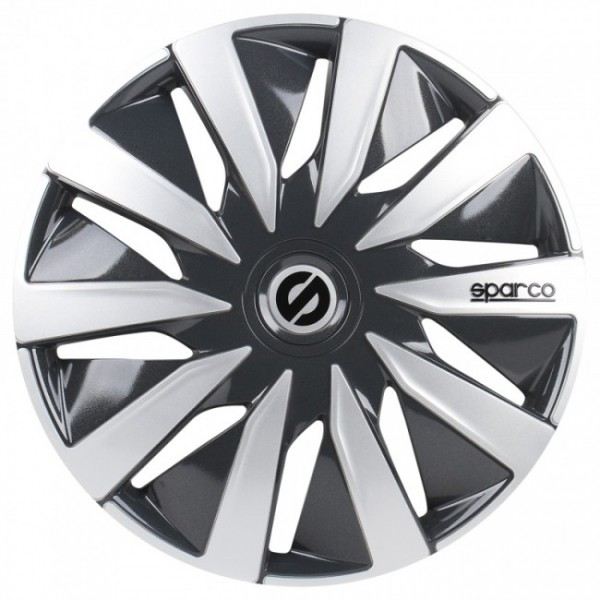 4-Delige Sparco Wieldoppenset Lazio 16-inch grijs/zilver